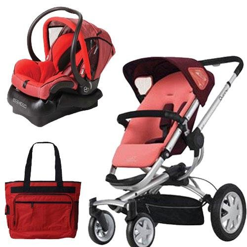 Quinny BUZZ4TRSTPK Buzz 4 Travel System in Pink Emily with Diaper Bag