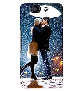 Printvisa Romantic Couple In Snowfall Back Case Cover for Micromax Canvas Knight A350