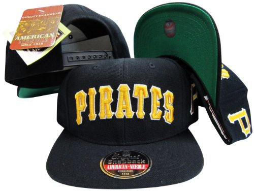 Pittsburgh Pirates Black Snapback Adjustable Plastic Snap Back Hat / Cap