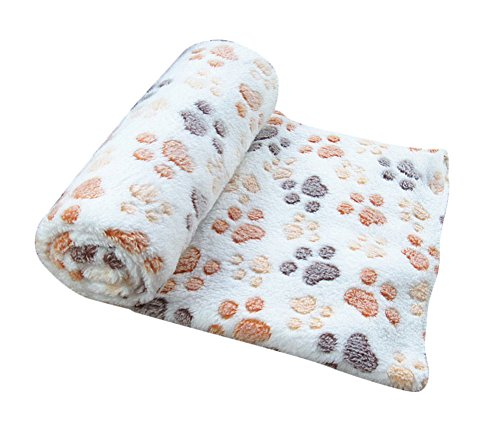 Freerun Pet Dog Cat Soft Warm Bed Blanket Mat Paw Print Custhion (Beige, M) (Service Dog Tote compare prices)