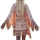 bluse damen Kolylong Frauen Boho Printed Bluse Chiffon Kimono Cardigan Tops (XL, a)