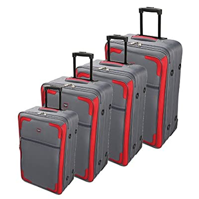 SKYFLITE Small Medium Large Extra Large 4pc Cabin Travel Trolley Luggage Suitcase Bag Case Sets Grey Red