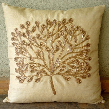The Gold Tree - 24X24 Inches Square Decorative Throw Gold Silk Sham Covers With Bead Embroidery front-408908