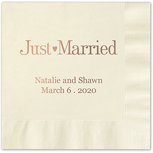 Just Married Beverage Cocktail Napkins Ivory Napkins with GOLD Foil - set of 100 paper napkins