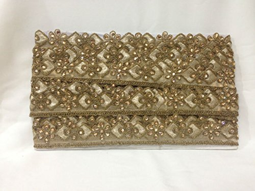 Inhika 9.8yd lace border trim Translucent bronze base,floral pattern stone thread