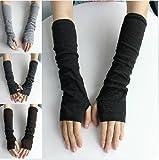 Cookids Unique Hop Women Stretchy Long Arm Sleeve Fingerless Gloves Novel Trendy Hip Fashion Gift for Christmas(black)