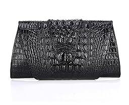 Kattee Women\'s Crocodile Embossed Real Leather Clutch Shoulder Handbag Black