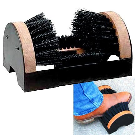 Ground Attachable Boot Scrapper - Wood - 4 brushes