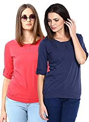ESPRESSO WOMEN'S 3/4TH SLEEVE PINTUCK FASHIONABLE TOP - PACK OF 2 - RED / NAVY