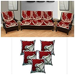 WOW Latest Design Polycotton 5 Seater Sofa Cover With Cushion Cover ( Set of 5 )