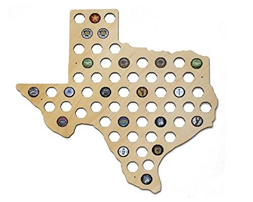 Texas Beer Cap Map - Holds Craft Beer Bottle Caps