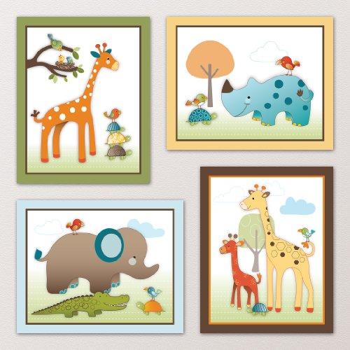 New  Jungle Animals Nursery Wall Art Decor