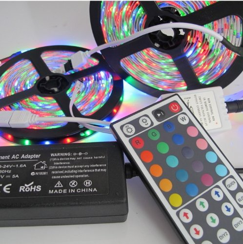 Rextin 10M 2X5M 3528 Rgb 600Leds Waterproof Led Light Strip + 44Key Ir Remote+ 5A Power Supply