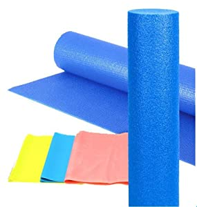Altus Athletic 3-in-1 Yoga / Pilates Set (24-Inch Foam Roller, 68-Inch Yoga / Pilates Mat, and 3 Stretch Bands)