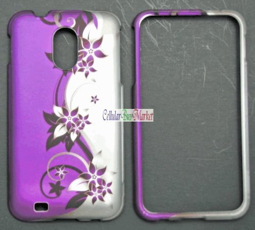 Samsung Epic 4G Touch Galaxy S II D710 Accessory - Purple/Silver Flower & Vines Design Protective Hard Case Cover for Sprint