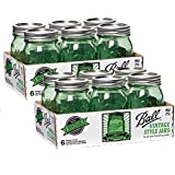 Ball Jar Ball Heritage Collection Pint Jars with Lids and Bands, Green (Pint-Set of 12)