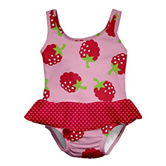 i play. Baby-Girls Infant Ultimate Swim Diaper Skirty Tanksuit, Red Raspberry, 6 Months