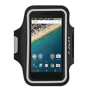 Nexus 5X Armband, J&D Sports Armband for Google Nexus 5X, Key holder Slot, Perfect Earphone Connection while Workout Running (Black)