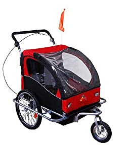 Aosom Elite II 3in1 Double Child Bike Trailer, Stroller & Jogger - Red / Black
