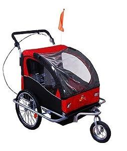 Aosom Elite II 3in1 Double Child Bike Trailer, Stroller & Jogger - Red / Black