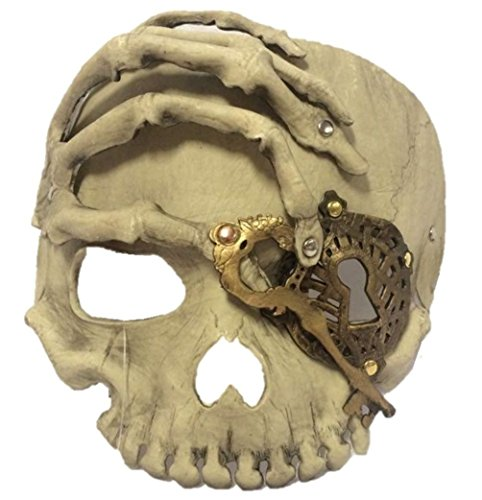 Pirate's Lock and Key Skeleton Half Mask Adult Mens Ladys Skull Day of The Dead