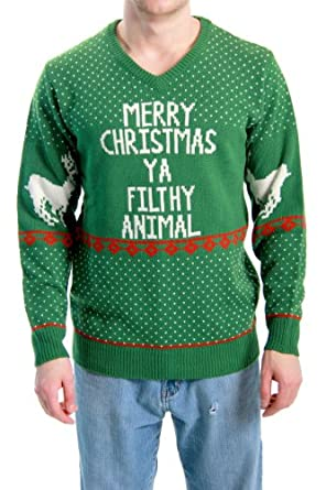 Ugly Christmas Sweater Home Alone Merry Christmas Ya Filthy Animal Adult Sweater (Adult XXX-Large)