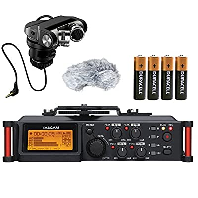 Tascam DR-70D 4-Channel Audio Recording Device for DSLR and Video Cameras with Tascam TM-2X Stereo XY Condenser DSLR Microphone