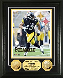 NFL Pittsburgh Steelers Troy Polamalu Photo Mint Gold Coin by Highland Mint