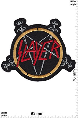 Patch - Slayer -pentagram - Thrash-Metal-Band - Musicpatch - Rock - Vest - Iron on Patch - toppa - applicazione - Ricamato termo-adesivo - Give Away