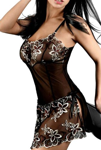 ANDI ROSE Sexy Lingerie Corset Dress & Thong G-string Set Women's Black