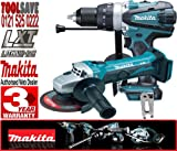 Makita BHP458Z 18V Cordless LXT Li-Ion Compact 2 Speed Combi Drill Plus BGA452Z 115mm 18V Cordless Angle Grinder (Bare Unit)