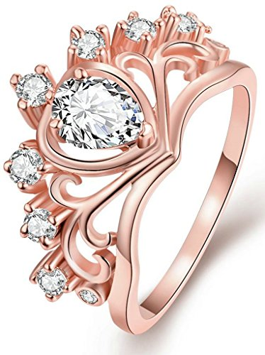 AnaZoz Jewelry Hers & Women's For Fashion Luxury 18K Rose Gold Plated Round-Cut and Halo AAA+ Cubic Zirconia CZ Princess Crown Tiara Carved Heart Ring Engagement Wedding Band Top Rings Bridal Jewelry Set US Size 9