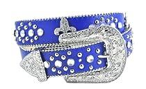 Fabulous Fleur Di Lis Rhinestone Western Bling Belt 4 Colors Available (M/L, Royal Blue)