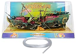 Action Air® Split Shipwreck Live-Action Aerating Aquarium Ornament w/Bonus Tubing
