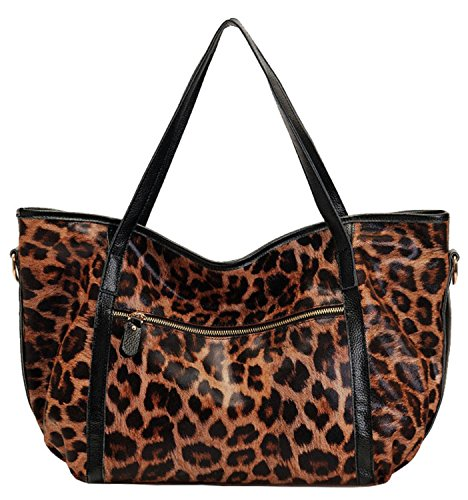 Heshe 100% Genuine Leather Casual Vintage Leopard Print Sexy Cool Shoudler Bag Purse Tote Top Handle Shoulder Hobo Cross Body Bag Satchel Purse Handbag for Lady
