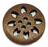 木のボタン 25mm 透かし彫り フラワー ウッドボタン (直径2.5cm)