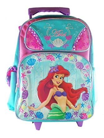 Large Rolling Backpack - Disney - Little Mermaid - Pink Turquoise Ariel New 614447