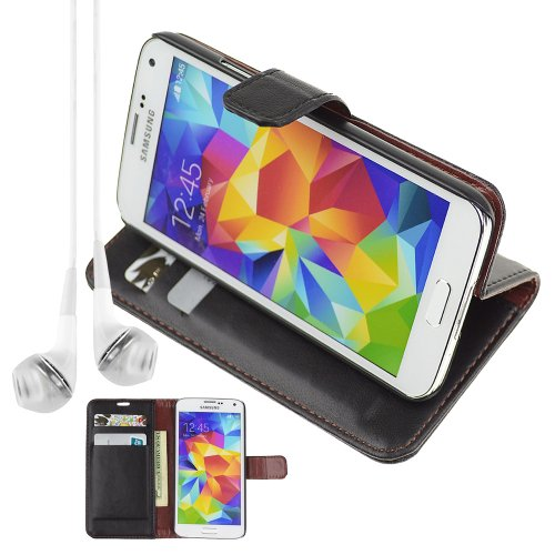 Pu Leather Folio Book Style Flip Cover Stand Case For Samsung Galaxy S5 S 5 Sv - Black + Vangoddy Headphone With Mic , White