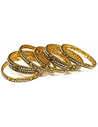 Shingar Jewellery Ksvk Jewels Antique Gold Plated Polki Kundan Bangles Set In 2.4 Size For Women (8183-m-2.4)