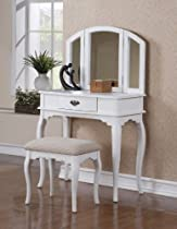 Hot Sale Bobkona Jaden Collection Vanity Set with Stool, White