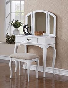 Bobkona Jaden Collection Vanity Set with Stool, White