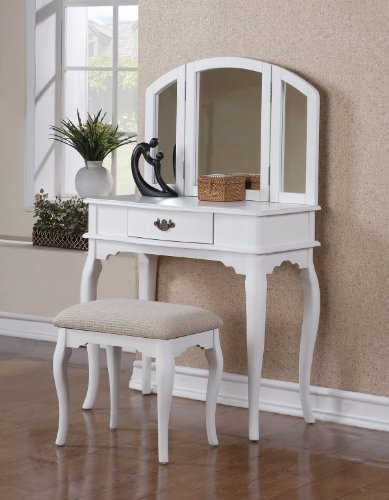 Bobkona Jaden Collection Vanity Set with Stool, White
