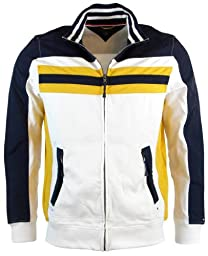 Tommy Hilfiger Mens Long Sleeve Full-Zip Track Jacket - XL - White/Navy/Yellow