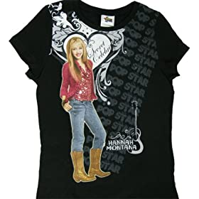 Hannah Montana Heartanna Girls Black Tee Shirt