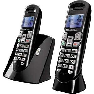 sagemcom d35t duo t l phone sans fil dect gap mains libres noir high tech. Black Bedroom Furniture Sets. Home Design Ideas