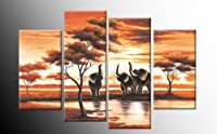"Large African Canvas Picture Elephants 4 pieces multi panel split canvas completely ready to hang hanging cord attached, hanging template included for easy hanging, UK company 40"" width 28"" height (101 x 71 cm) from CANVAS INTERIORS"