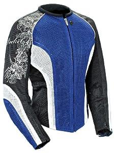 Joe Rocket Cleo 2.2 Women's Mesh Motorcycle Riding Jacket (Blue/White/Black, Large)