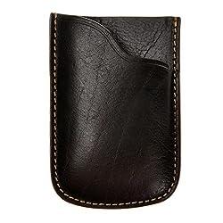 ZLYC Unisex Handmade Vegetable Tanned Leather Slim Business Credit Card Holder Case, Black