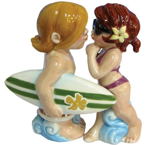 Westland Giftware Mwah Magnetic Surfer and Bikini Girl Salt and Pepper Shaker Set
