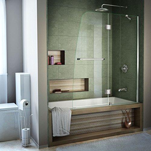 DreamLine Aqua 48 in. Width, Frameless Hinged Tub Door, 1/4